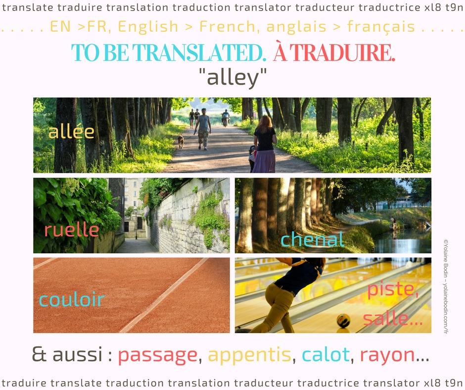 Comment traduire le mot anglais alley en français
