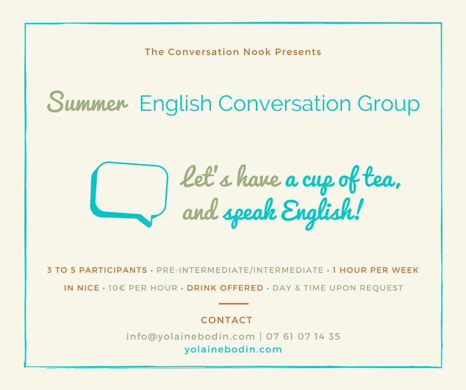 Summer English Conversation Group in Nice with Yolaine Bodin