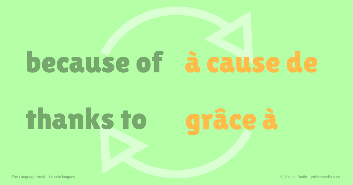 vocabulaire français - anglais : à cause de, grâce à - because of, thanks to
