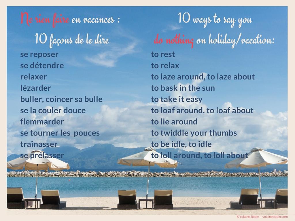 Ne rien faire: 10 façons de le dire en anglais et en français