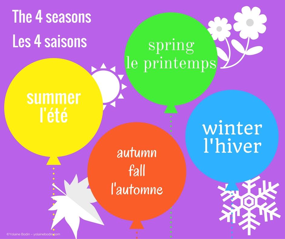 Vocabulaire français - anglais : les quatre saisons