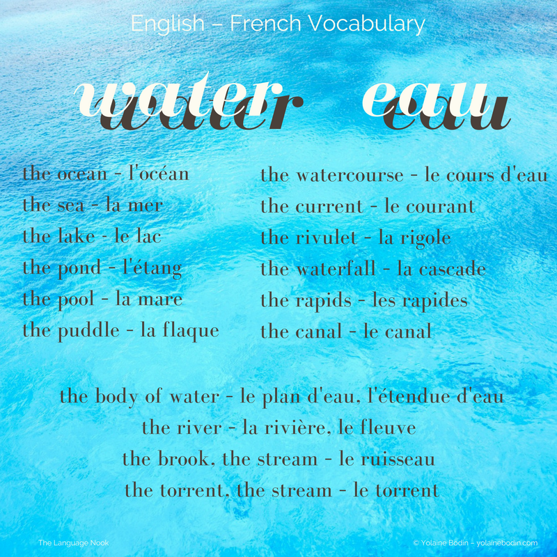 English-French vocabulary about water