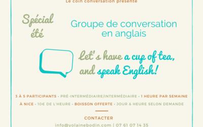 Groupe de conversation en anglais spécial été
