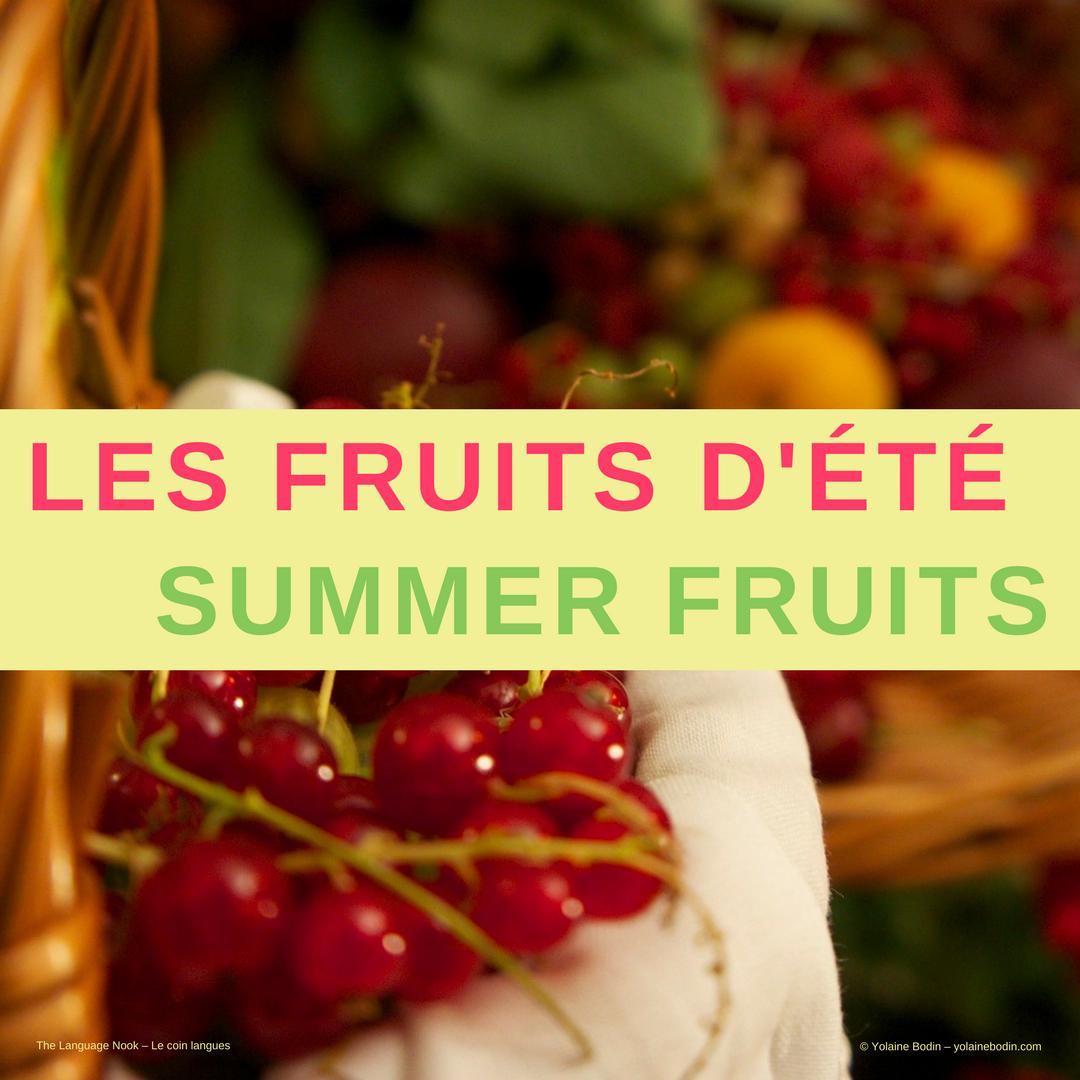 fruits d'été vocabulaire français - anglais
