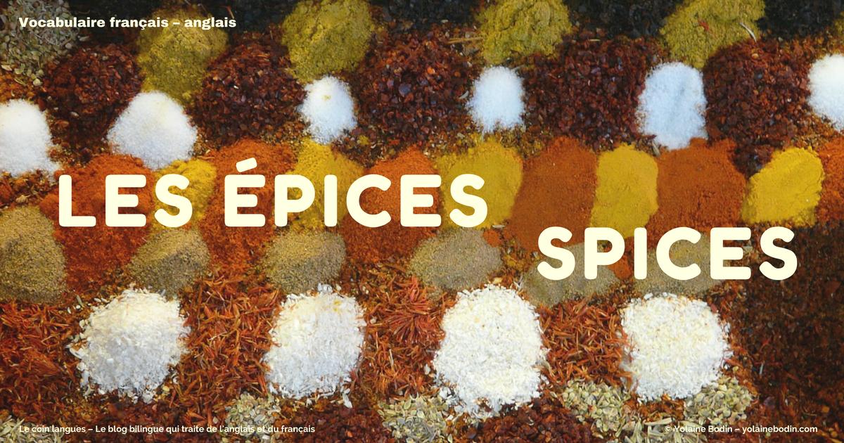 vocabulaire français anglais - les épices