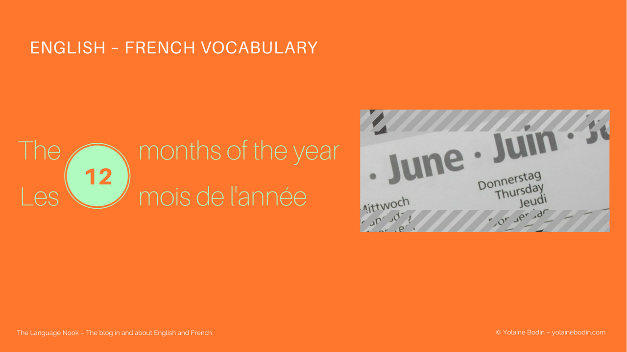 months of the year in English and in French