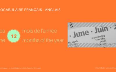 Les mois de l'année en français et en anglais