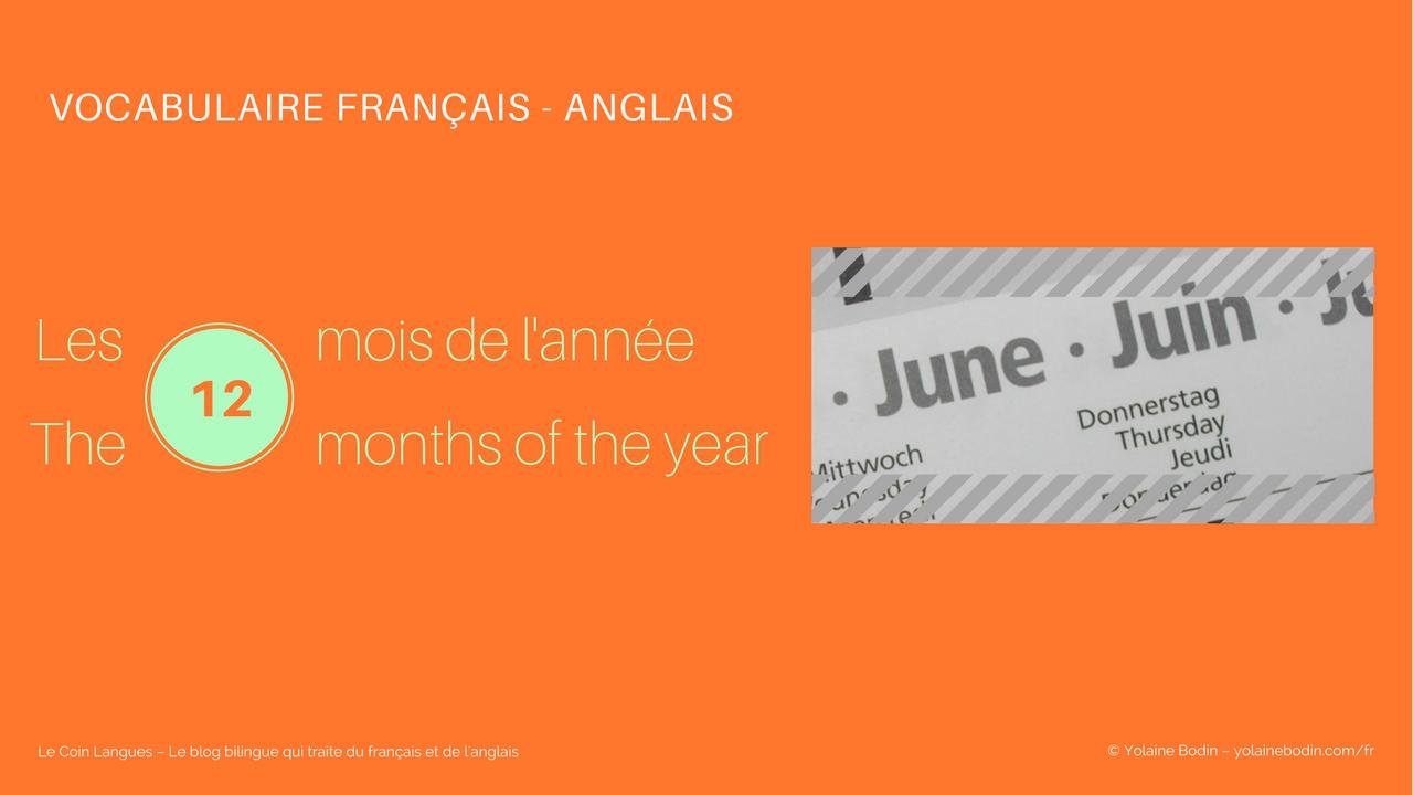 le nom des 12 mois de l'année en français et en anglais