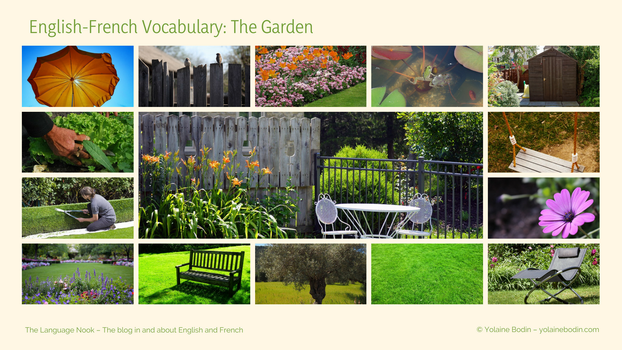 Vocabulary about the garden in English and in French