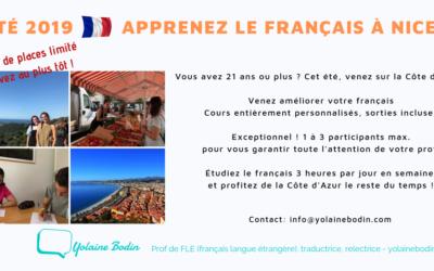 Été 2019 : Cours de français à Nice
