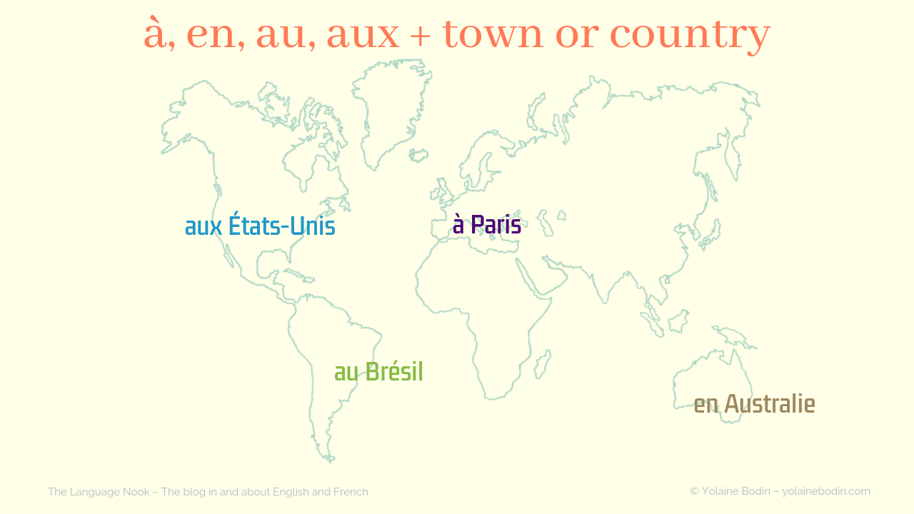 prepositions with country and city names in French