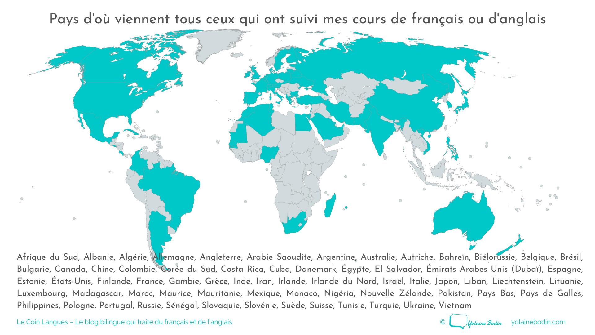 Carte des pays de mes étudiants en français et en anglais - Yolaine Bodin